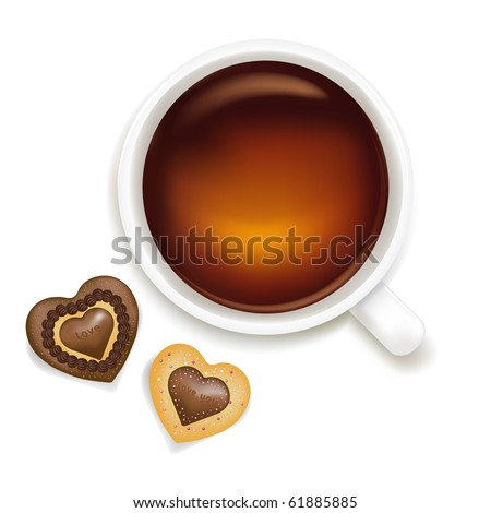 Cup Of Tea With Cookies, Isolated On White Background