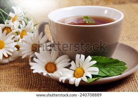 cup of tea with daisies - stock photo