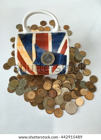 cup of tea with great Britain UK flag with euro cents and Bulgarian coins around of it  brexit concept