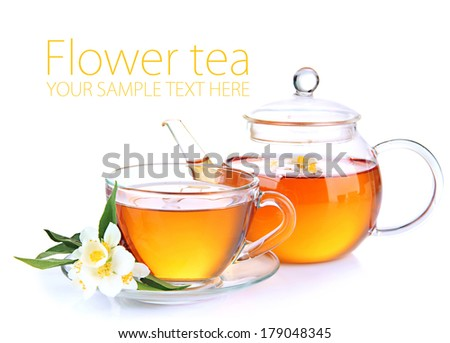 Cup of tea with jasmine, isolated on white - stock photo