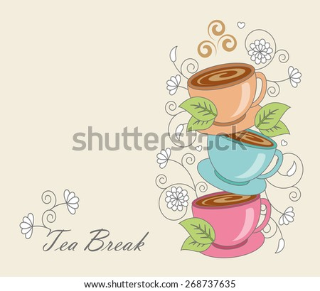cup of tea with leaves on a background of whorls