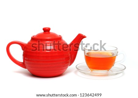 cup of tea with lemon and tea on a white background - stock photo