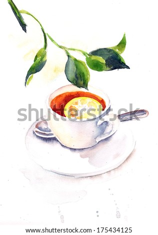 Cup of tea with lemon / Watercolor painting on white background - stock photo