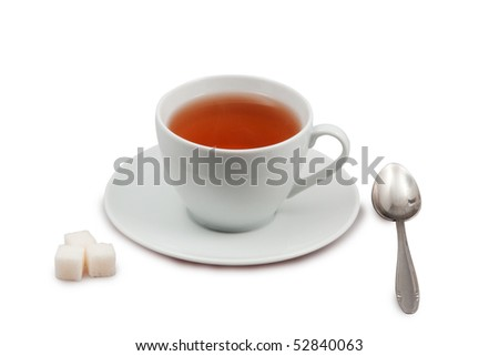cup of tea with spoon and sugar isolated on white with clipping path - stock photo