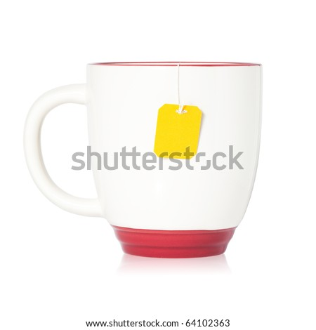Cup of tea with tea bag (blank label) inside isolated on white background - stock photo