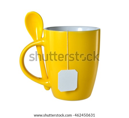 Cup of tea with tea bag (blank label) isolated on white background