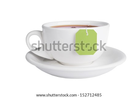 Cup of tea with tea bag isolated on white background - stock photo