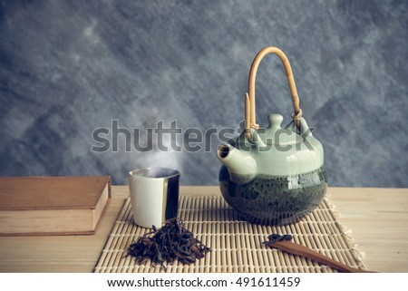 Cup of tea with tea pot and old book