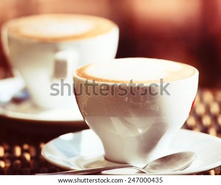 cup of the coffee on table in cafe - stock photo