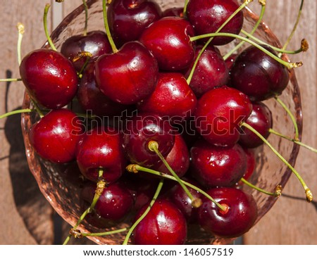 Cup of very red cherries under the sun