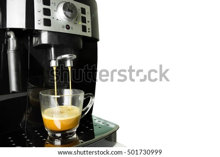 Cup off fresh coffee with coffee machine isolated on white background