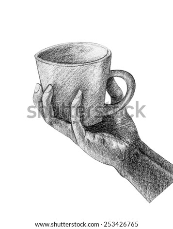 Cup on hand drawing by pencil - stock photo