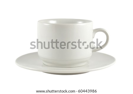 cup on saucer isolated on white background - stock photo