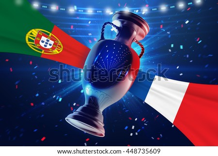 Cup on the football field with flag Portugal vs France. Concept sport.