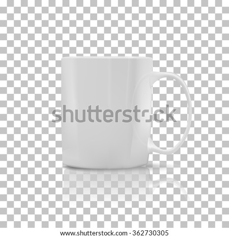 Cup or mug white color. Object coffee or tea, ceramic utensil, beverage breakfast, refreshment caffeine, handle container, realistic glossy elegance cup. Cup icon. Transparent background - stock photo