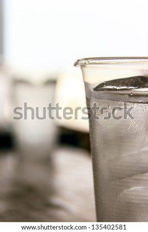 Cup plastic it used once and waste - stock photo