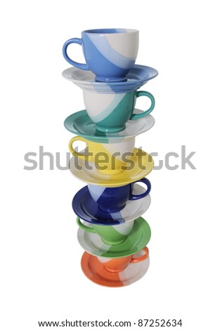 cup stacks visible from above isolated on white background - stock photo