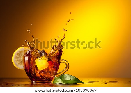 Cup tea and lemon - stock photo