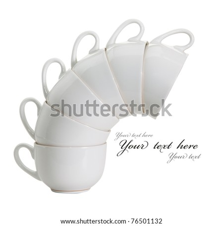 Cup white isolated on white background - stock photo