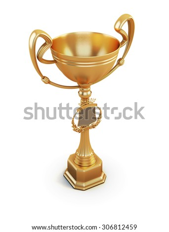 Cup winner isolated on white background. 3d illustration.