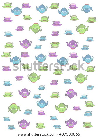 cup with a drink and teapots are the background