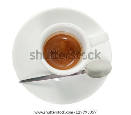 Cup with coffee espresso with spoon isolated on white - stock photo
