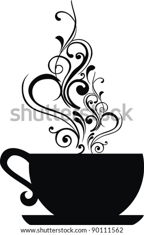 Cup with floral design elements.  illustration. - stock photo