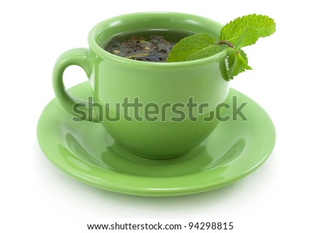 Cup with green tea with mint. - stock photo
