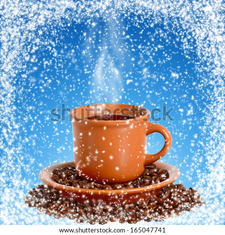 Cup with hot coffee in snowy frame. Design sign board of coffee shop in winter. - stock photo