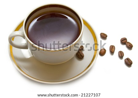 Cup with hot coffee on a white background