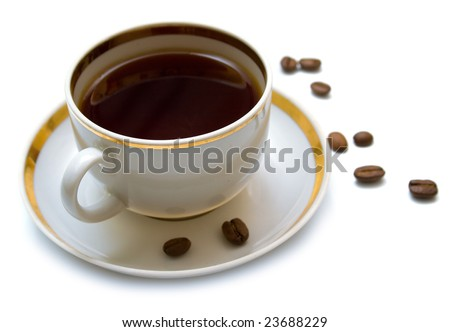 Cup with hot coffee on a white background. Isolation