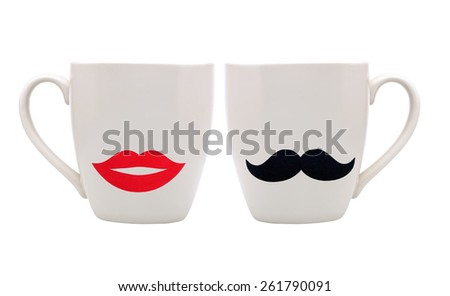 Cup with mustache and lips isolated on white background - stock photo