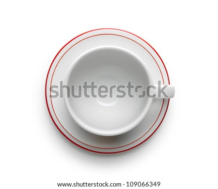 cup with saucer isolated on white background - stock photo