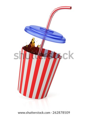 Cup with straw and splash isolated on white. 3d render - stock photo