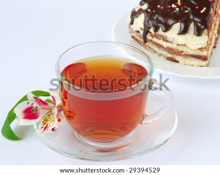 cup with tea and piece of home cake. isolated on white background
