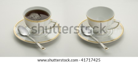 Cup with tea, coffee and empty - stock photo
