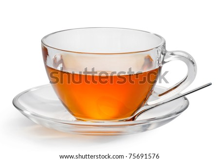 cup with tea isolated on a white background.