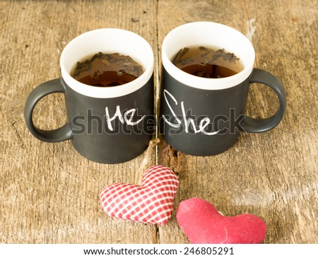 Cup with words He and She written with chalk and heart - stock photo