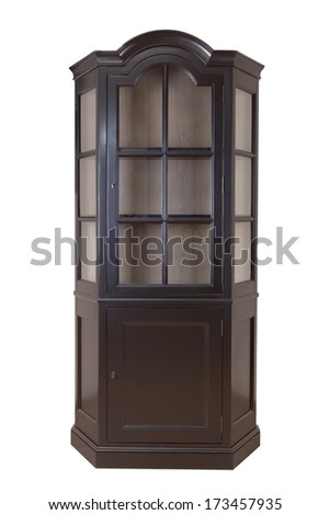 Cupboard with glass doors. Taken on a clean white background - stock photo