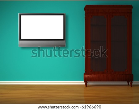 Cupboard with lcd tv in minimalist interior