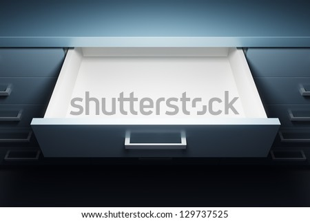 cupboard with opened empty drawer, 3d render - stock photo