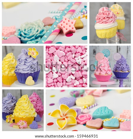 Cupcake candy cakepop collage in pink yellow purple and aqua - stock photo