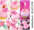 Cupcake collage.  Montage of cupcake images, in pastel tones. - stock photo