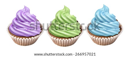 Cupcake icing with colored cream on white background