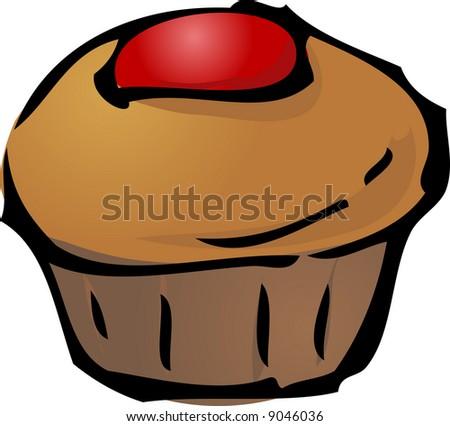 Cupcake illustration hand-drawn lineart sketch jam - stock photo