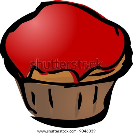 Cupcake illustration hand-drawn lineart sketch jam covered - stock photo