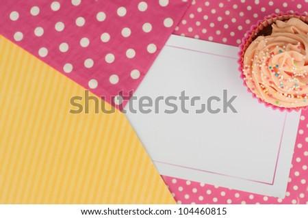 cupcake polka dots card design wallpaper background - stock photo