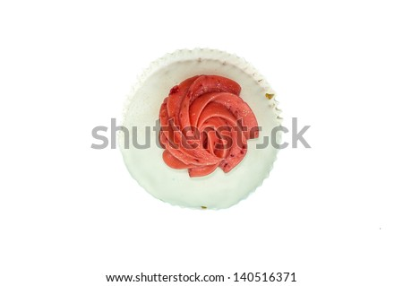 Cupcake top-viewed isolated on white background - stock photo