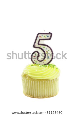 Cupcake with a decorative candle in the form of the number five isolated over a white background to celebrate a birthday or other occasion