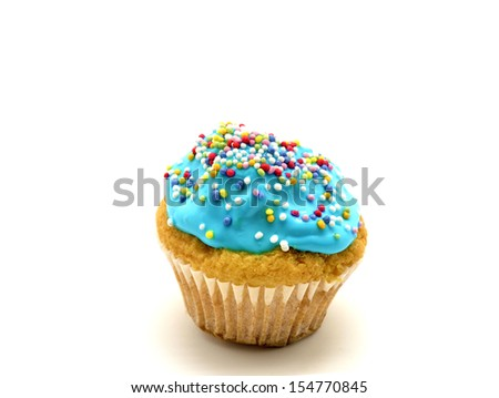 cupcake with blue cream - stock photo